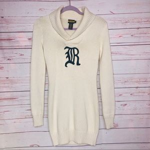 Ralph Lauren Rugby Knit Letter Sweater Dress Sz XS